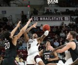 Mississippi State guard D.J. Stewart attacks the basket against South Carolina on Feb. 19 at Humphrey Coliseum. Stewart could be the Bulldogs' most improved player this coming season, as he's expected to receive consistent minutes.