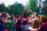 Mississippi State University women's sophomore center Teaira McCowan greets fans who came to see the team off to Dallas on Tuesday.