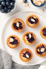 Blueberry Brie tartlets made with honey, lemon juice and toasted almonds are an elegant appetizer.