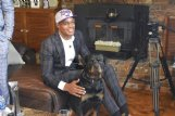 Mississippi State standout Robert Woodard II poses for a picture with his dog, Titan, after being selected by the Sacramento Kings Wednesday in the 2020 NBA draft.