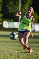 Chloe Boyd, 13, kicks the ball during a scrimmage at tryouts for Columbus United Soccer Club competitive teams Thursday evening at the Columbus Soccer Complex. Boyd also plays for Heritage Academy.