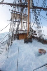 Europa's decks are awash as the ship and its crew travel in a storm in February 2018. This photo was taken approximately halfway between Ushuaia, Argentina and Antarctica when Columbus native Sid Imes came on deck for his turn to steer the ship.