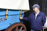 """Duffy Neubauer built a replica of a Civil War-era wagon, using government specifications for the time period, that is displayed in his arsenal and museum. He stamped it with the logo of his great-great-uncle's Wisconsin business, which produced those wagons for the U.S. Army during the war. """"For me to build one is just an old family tradition,� Neubauer said."""