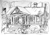 A drawing of the Harris home in Columbus by Josh Meador, the Oscar-winning longtime head of animation effects for Disney Studio. The house was the childhood home of Clyde Kilby's wife and the home to which he retired. Kilby was a biographer of C.S. Lewis and an editor for J.R.R. Tolkien.