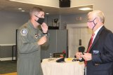 Col. David Fazenbaker speaks with retired Lt. Col. Gene Smith during a celebration of the Air Force's 73rd birthday at Columbus Club on Columbus Air Force Base Friday. During the event, which also recognized military service members who were held as prisoners of war or missing in action, Smith talked about the five years he spent as a POW during the Vietnam War and encouraged his audience to never stop serving their communities.