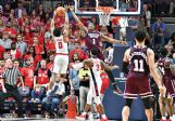 Ole Miss' Blake Hinson (0) battles for a rebound with Mississippi State's Reggie Perry (1) in the second half of their game Saturday at The Pavilion at Ole Miss.