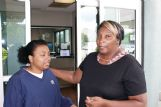 A relieved, but exhausted Glenda Hudson, right, whose daughter, Victoria, was found safe more than two days after a car crash in Clay County, talks with Victoria's cousin, Santita Word of Tuscaloosa, outside the emergency room at North Mississippi Medical Center in West Point Saturday. Victoria Hudson was being treated for dehydration being held for observation Saturday after her ordeal.