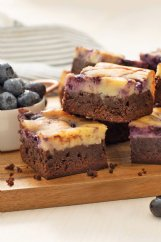 Blueberry swirl cheesecake brownies elevate an everyday dessert to something special.