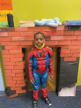 Spiderman, aka Tristen Miller, 5, of Columbus will be having his Halloween fun at home with his four siblings this year instead of trick-or-treating.