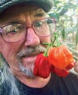 Felder Rushing holds Scorpion peppers; they're not to be trifled with.