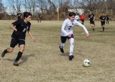 Mississippi School for Mathematics and Science senior Trevor Allen (3) and Yazoo County sophomore Sterling Johnson (7) go after the ball during the first half of Saturday's game in Columbus. The Blue Waves won 4-0.