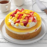 Mango and strawberries give this no-bake cheesecake refreshing flavor to help beat summer's heat.