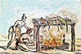 Barbecue is derived from the Spanish term baracoa which is said to have originated in the Caribbean as a word for the Indian practice of cooking meat over an open fire. Pictured is an 1837 copy of de Bry's c 1590 engraving of Indians in Florida cooking.