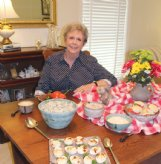 Dot Reichle displays a summertime spread at her Columbus home Monday - all made with homemade mayonnaise. Reichle recently rediscovered her mother's recipe. In addition to a bowl of homemade mayo, and basil mayo, the table holds pasta salad with Parmesan mayonnaise, Dot's chicken salad, tomato and mayo on scratch biscuits, plus deviled eggs.