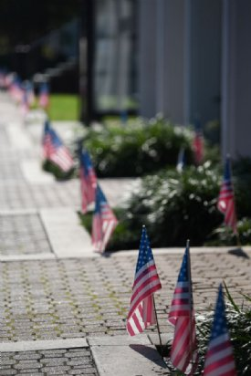 American flags line the sidewalk on July 4 in downtown Starkville. The annual Fourth of July celebration at the Starkville Sportsplex was much smaller scale this year, without bouncy houses for kids and no grills allowed due to COVID-19. / Photo by: Claire Hassler/Dispatch Staff