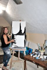 Heather Madison of Columbus is pictured in her studio with a work in progress.