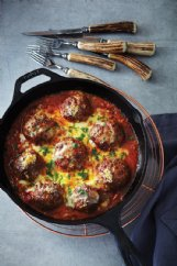 Beef meatballs with garlic and herbs, topped with Parmesan and parsley, warms from the inside-out.