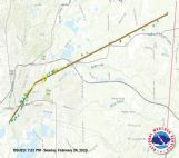 The path of Saturday's EF-3 tornado is pictured. National Weather Service crews came to Columbus Sunday to determine the storm's path and classification.