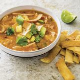 This slow cooker chicken tortilla soup recipe appears in the cookbook